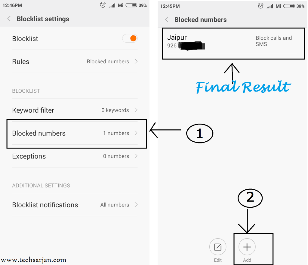 How to Manage Black list in Xiaomi phones MIUI 8/7 (Redmi 1s