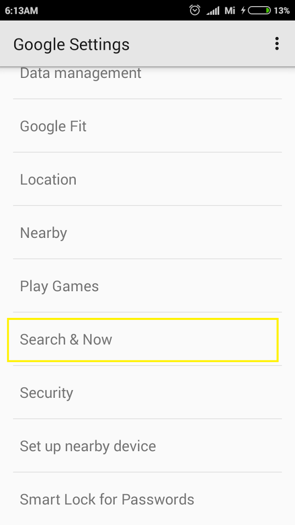 Search now Google setting in Xiaomi MIUI 7-Red mi 2 mic problem