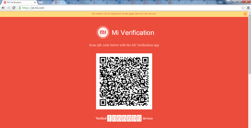 Brower address bar for QR Scan-Mi Verification App