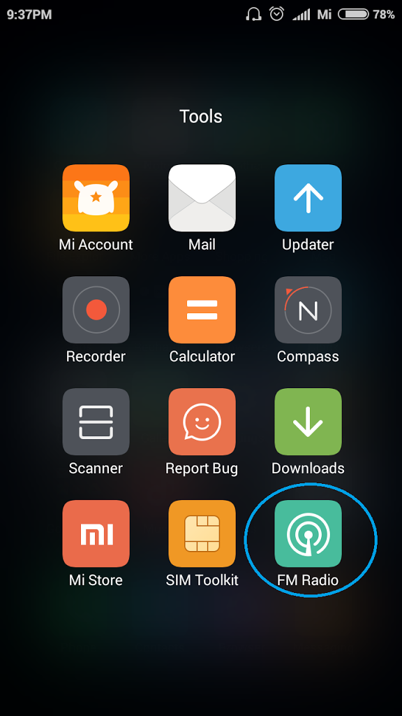 Tools Menu Xiaomi MIUI Launcher