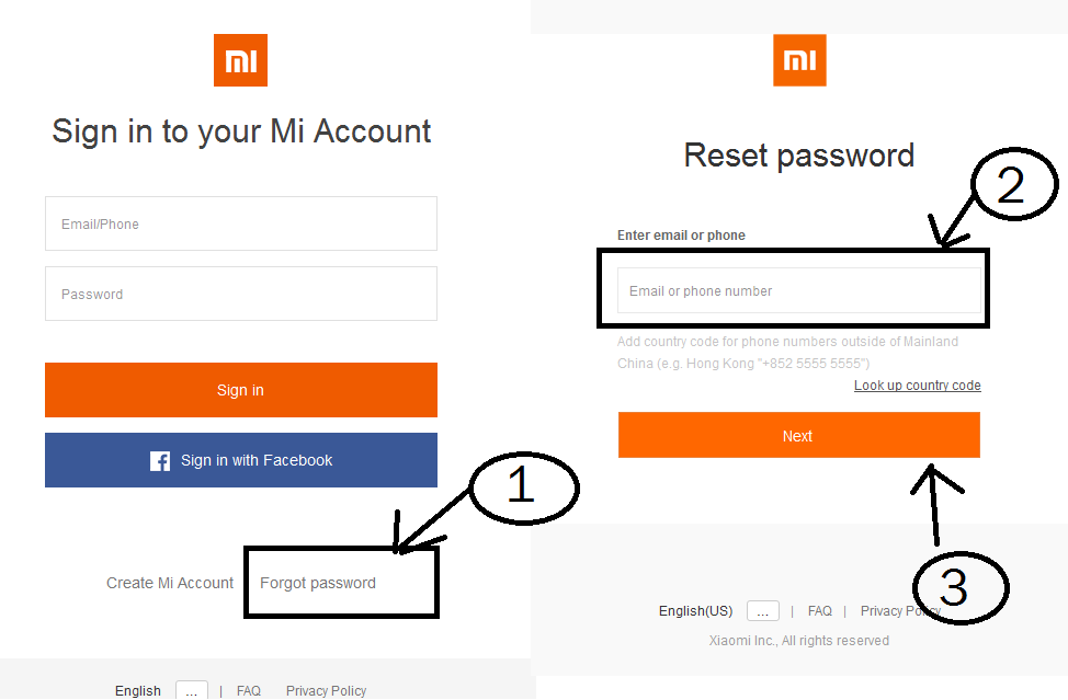 Xiaomi Mi account password recovery- Reset Mi Password