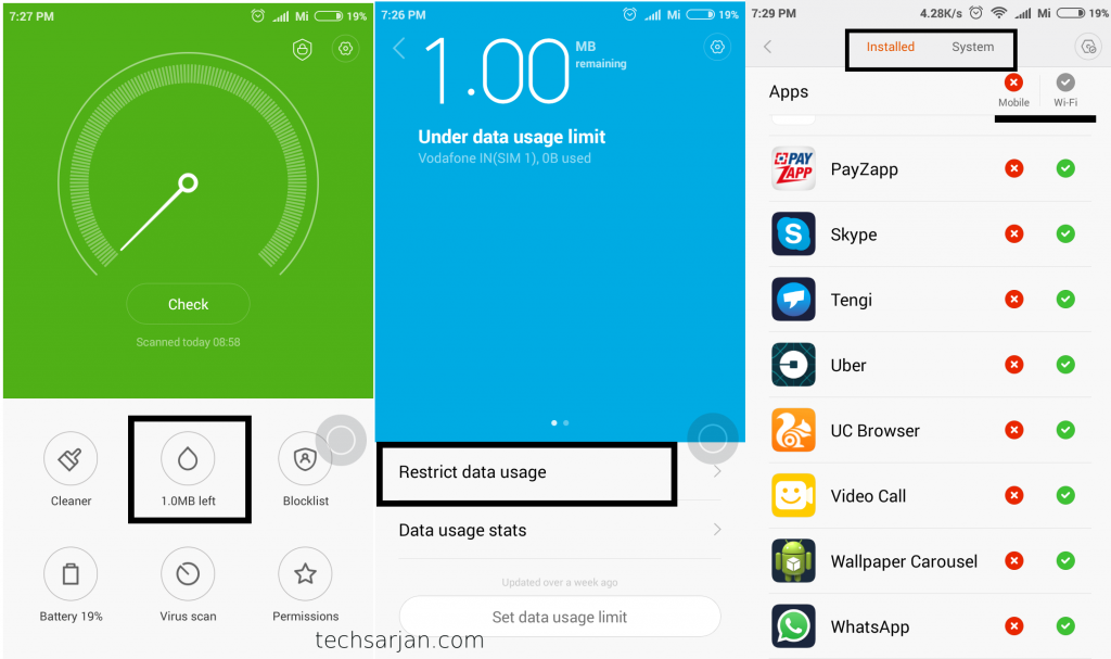 Restrict data usages in Xiaomi new