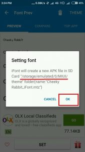 font apk file path option in ifont app
