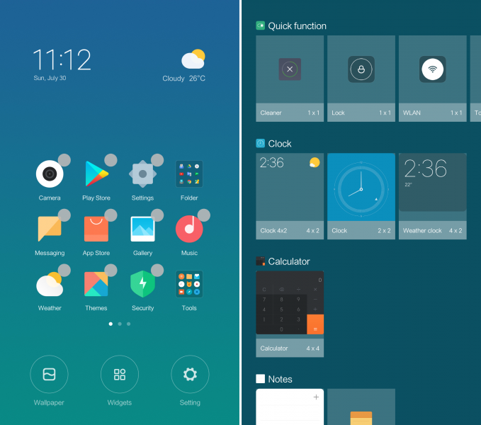 MIUI 9 home screen feature with user guide