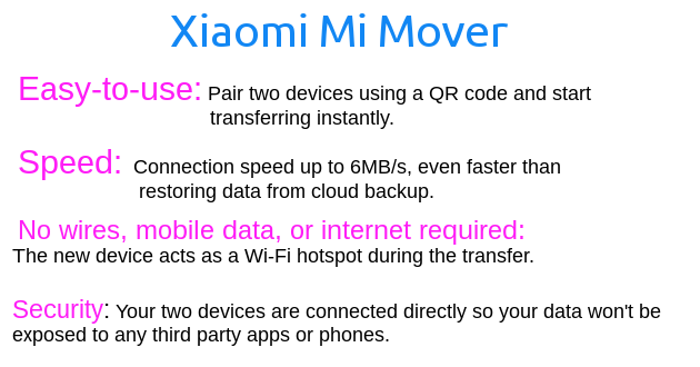 Xiaomi Mi mover- Features list